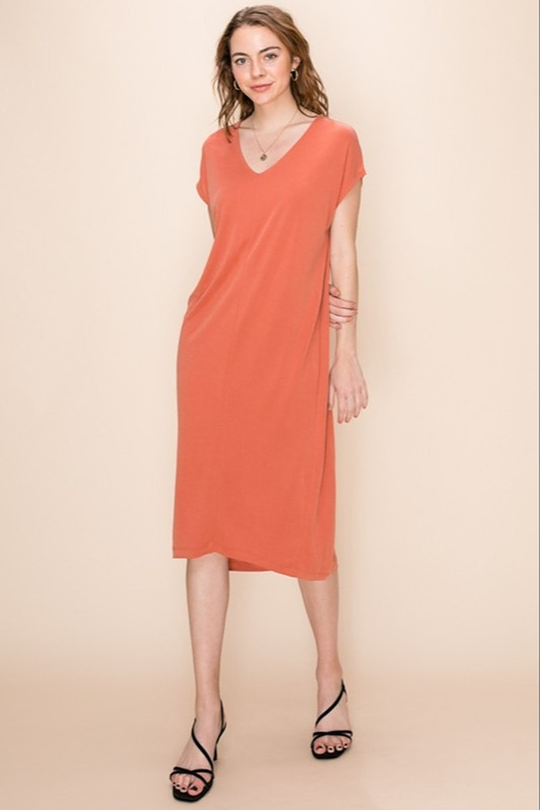 Double Zero Terra Cotta V neck dress - Front Cropped Image