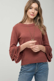 Mine and E&M Terracotta/Black Tiered Bell Sleeve Sweater - Front cropped