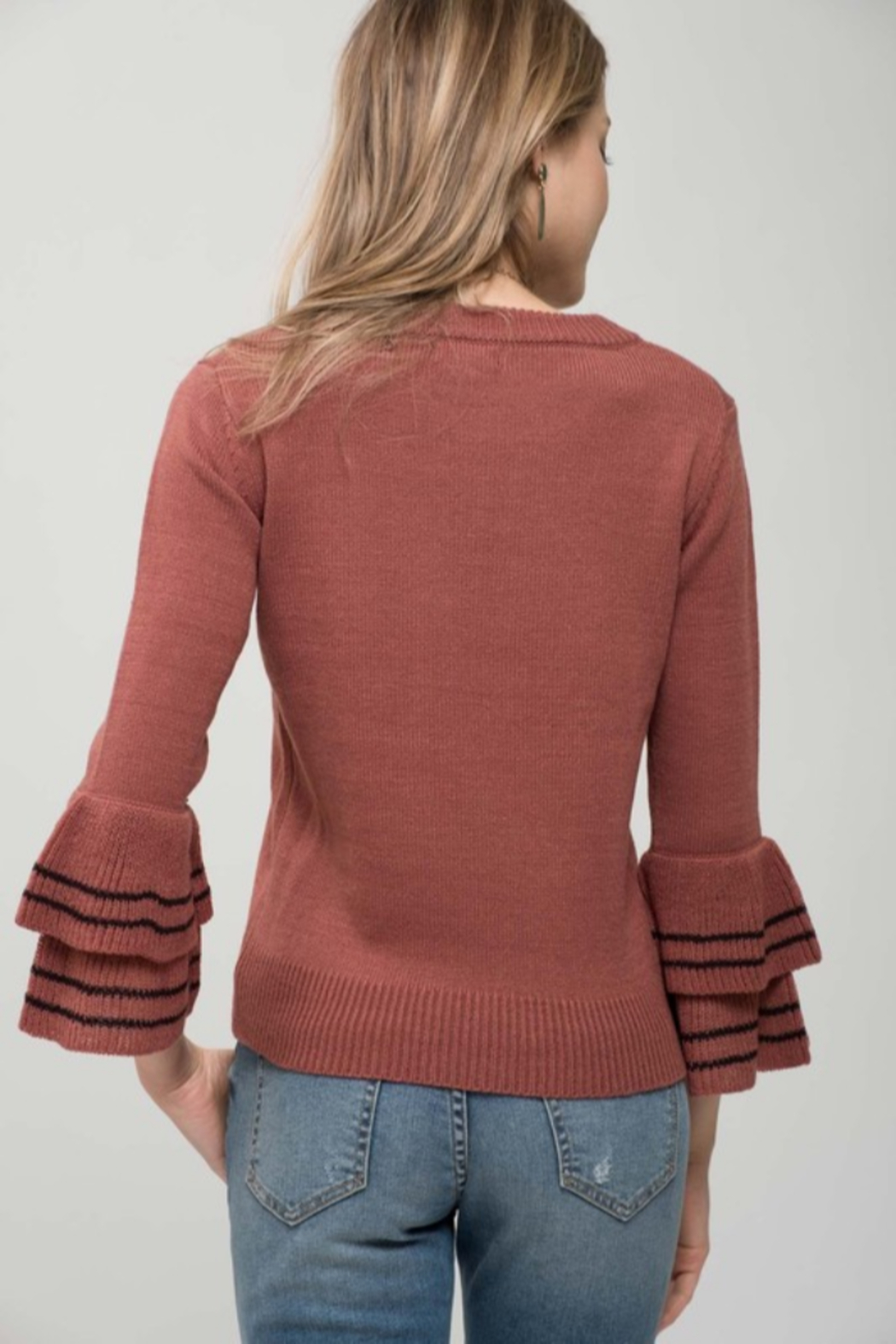 Mine and E&M Terracotta/Black Tiered Bell Sleeve Sweater - Front Full Image