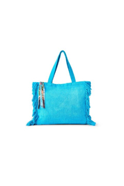 Two's Company Terry Cloth Tote With Fringe Tassel - Front cropped