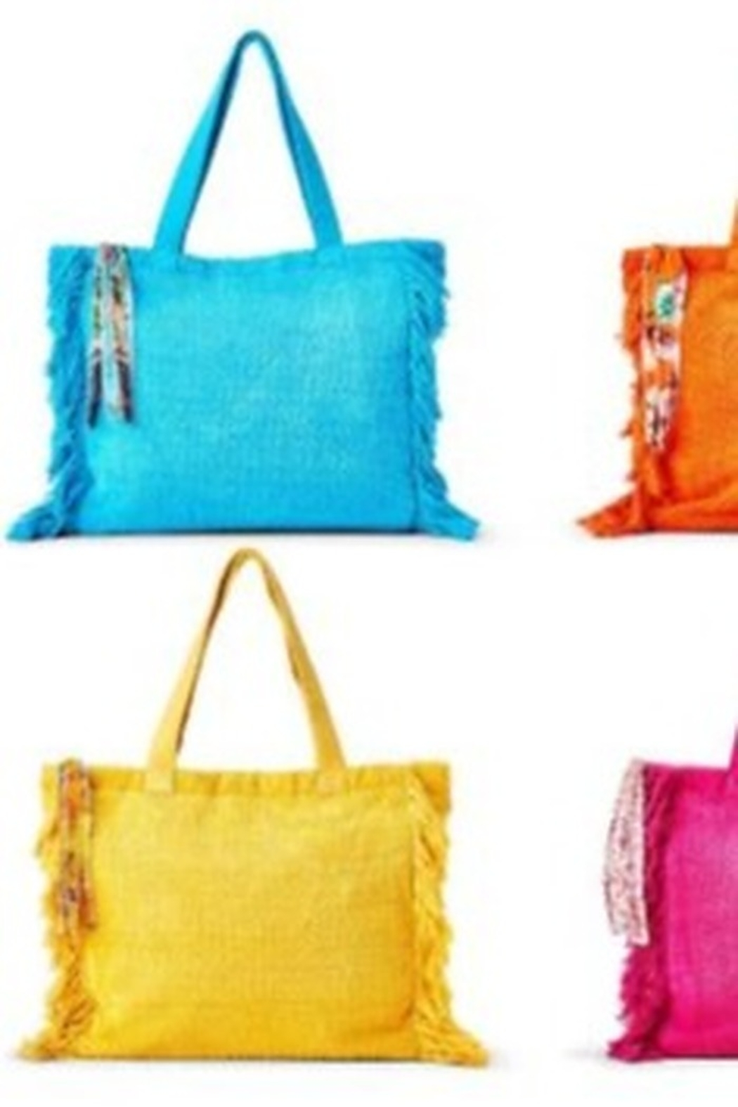 Two's Company Terry Cloth Tote With Fringe Tassel - Side Cropped Image