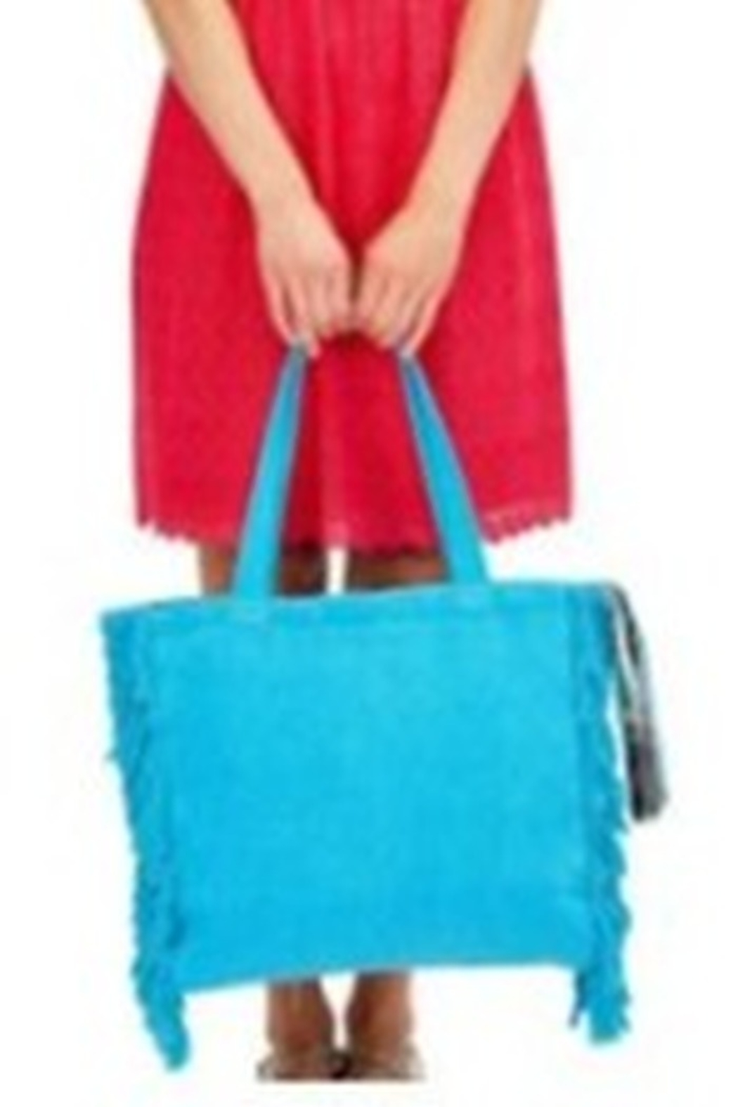 Two's Company Terry Cloth Tote With Fringe Tassel - Front Full Image