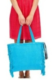 Two's Company Terry Cloth Tote With Fringe Tassel - Front full body