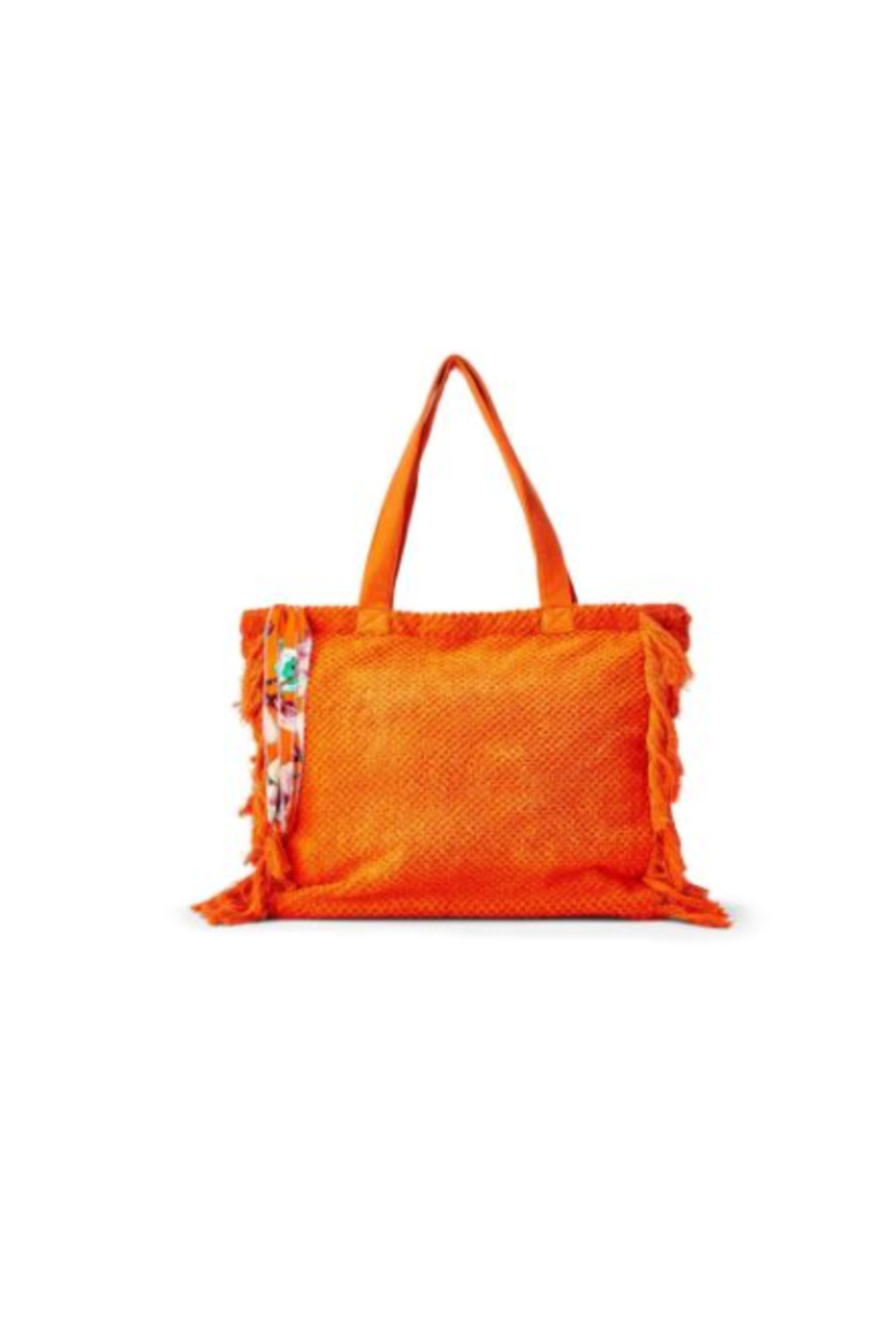 Two's Company Terry Cloth Tote With Fringe Tassel - Front Cropped Image