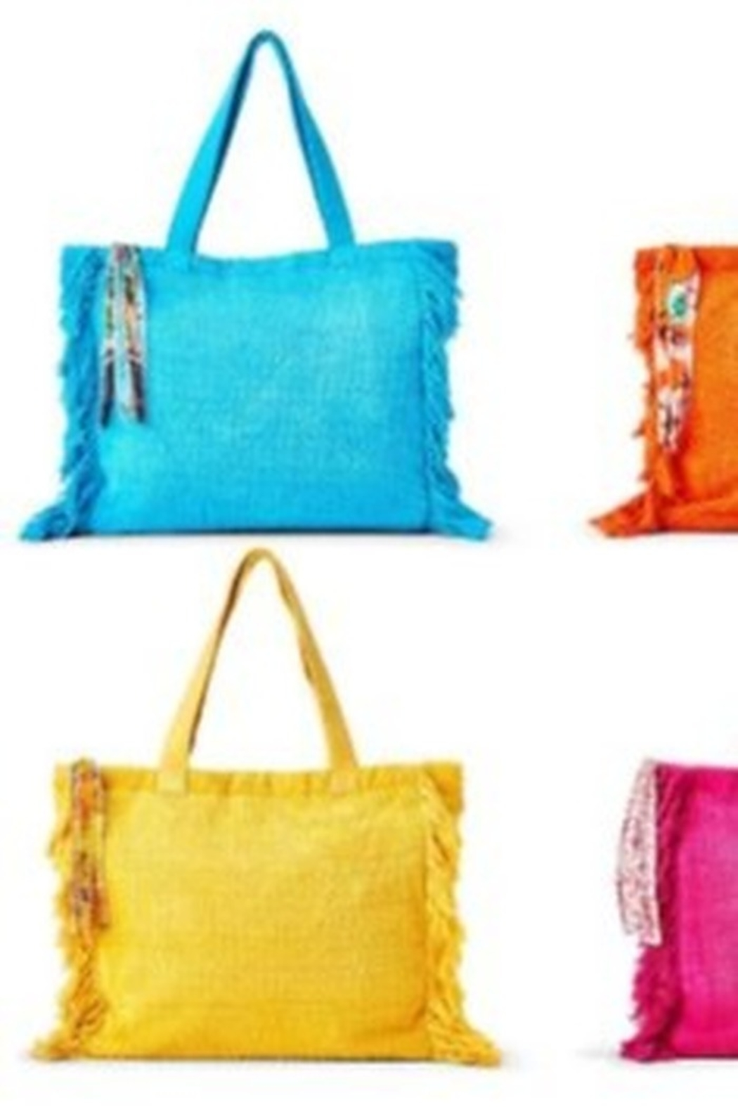 Two's Company Terry Cloth Tote With Fringe Tassel - Main Image