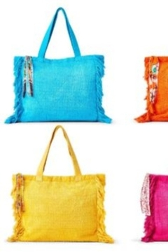 Two's Company Terry Cloth Tote With Fringe Tassel - Alternate List Image
