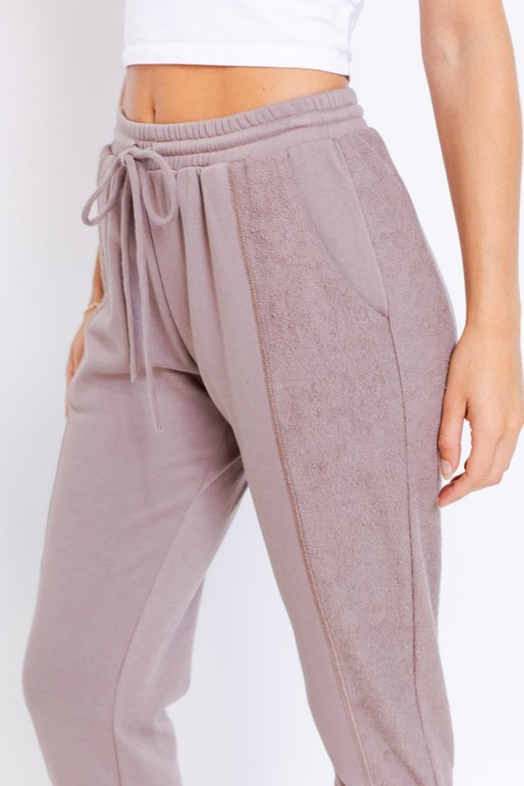Le Lis Terry Paneled Joggers - Front Full Image