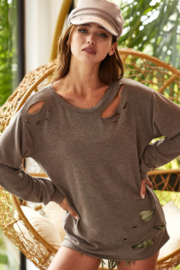 Bibi Terry Pullover with Laser Cutouts. - Product Mini Image