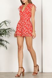 Adelyn Rae Tessie Woven Print Romper - Front cropped
