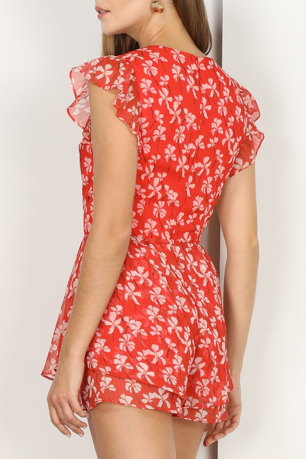 Adelyn Rae Tessie Woven Print Romper - Side Cropped Image