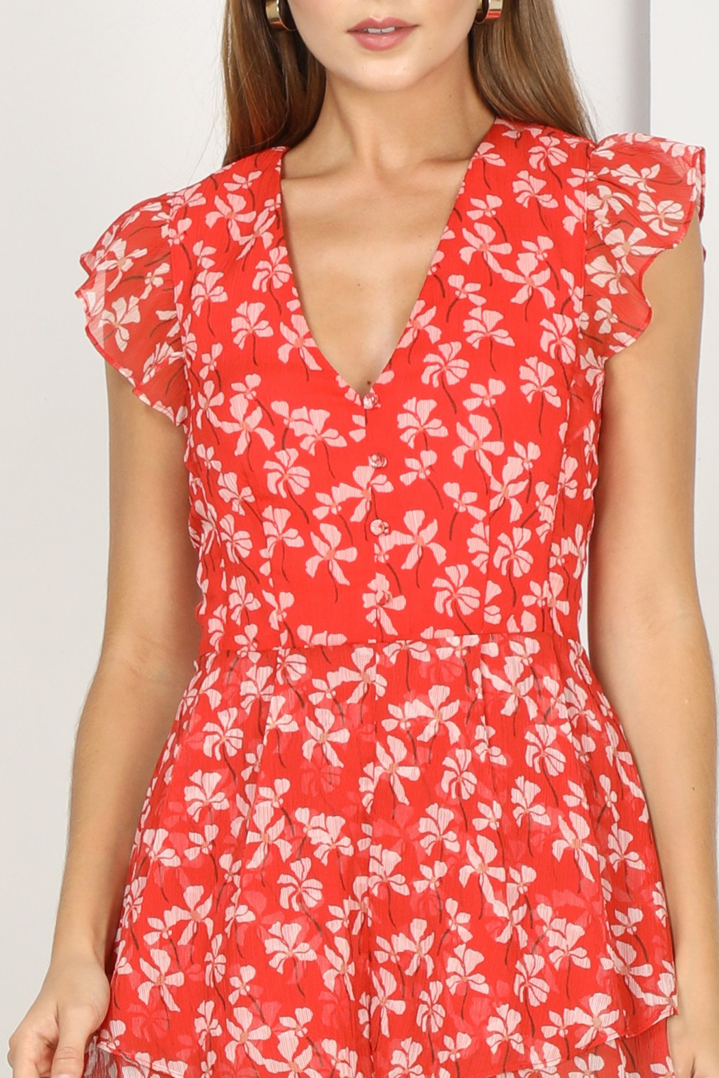 Adelyn Rae Tessie Woven Print Romper - Back Cropped Image