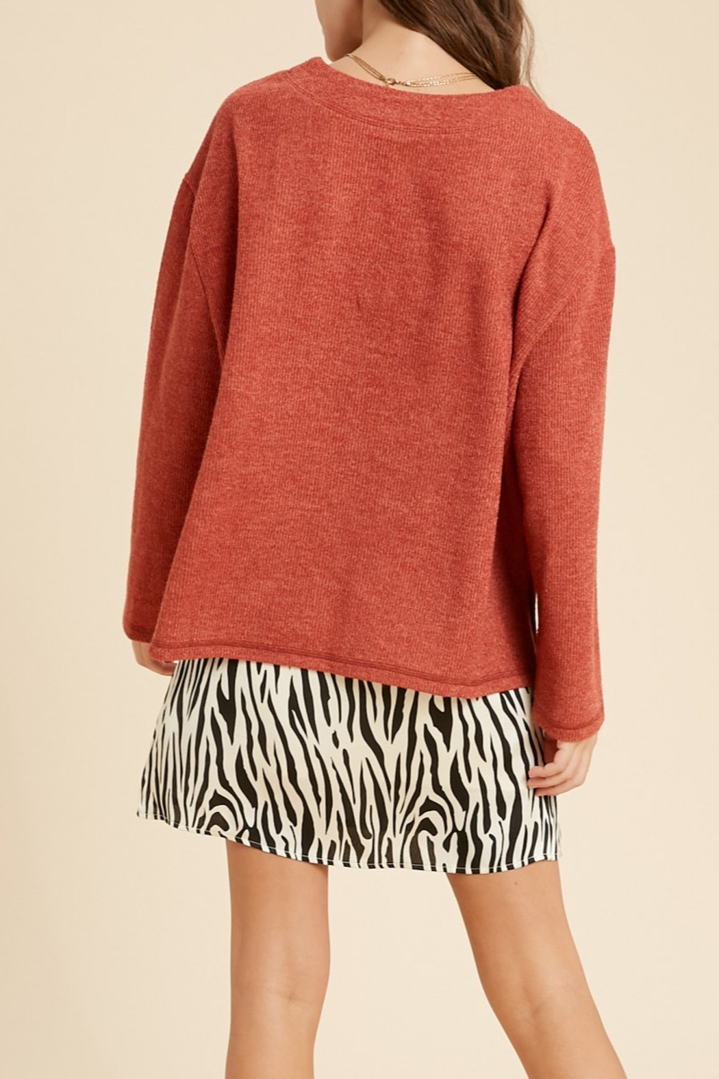 Wishlist Textured 2tone Knit Top - Front Full Image