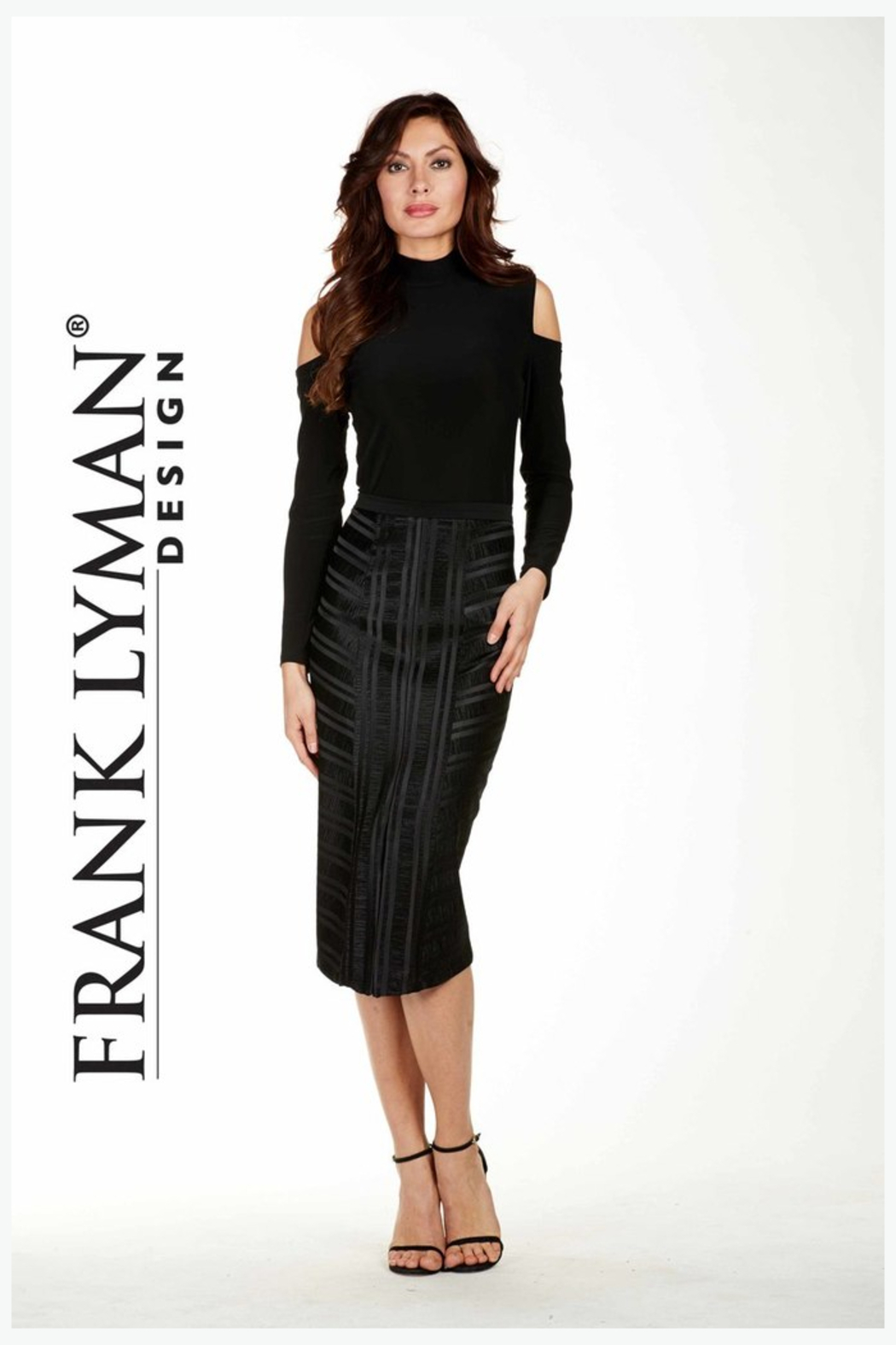 Frank Lyman Textured Angles Midi Pencil Skirt, Black - Front Cropped Image