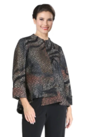 IC Collection Textured Asymmetric Jacket in Multicolor -  3830J - Front cropped