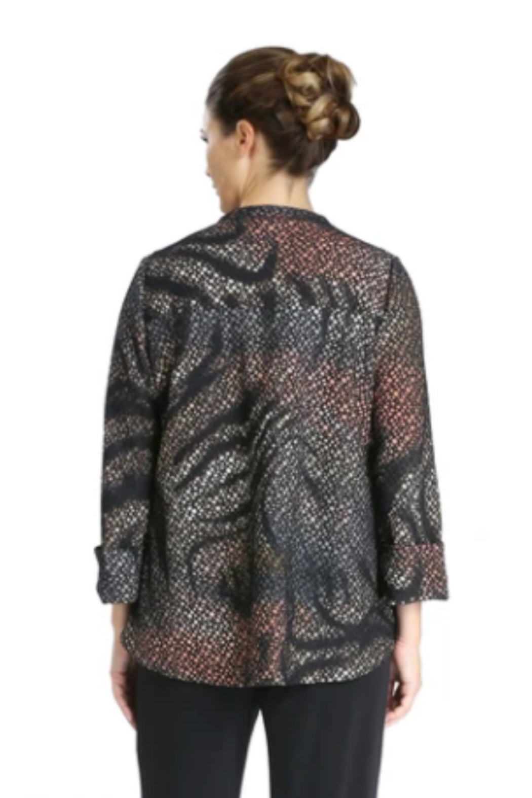 IC Collection Textured Asymmetric Jacket in Multicolor -  3830J - Front Full Image