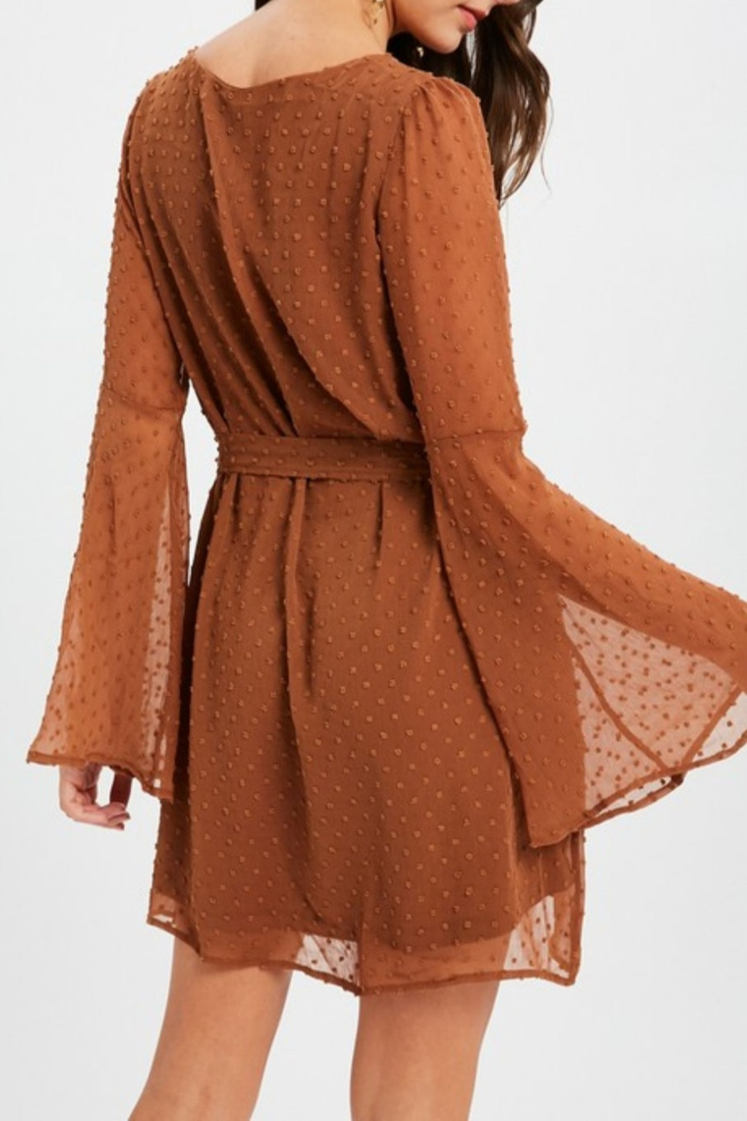 Listicle Textured Bell Sleeve Dress - Front Full Image