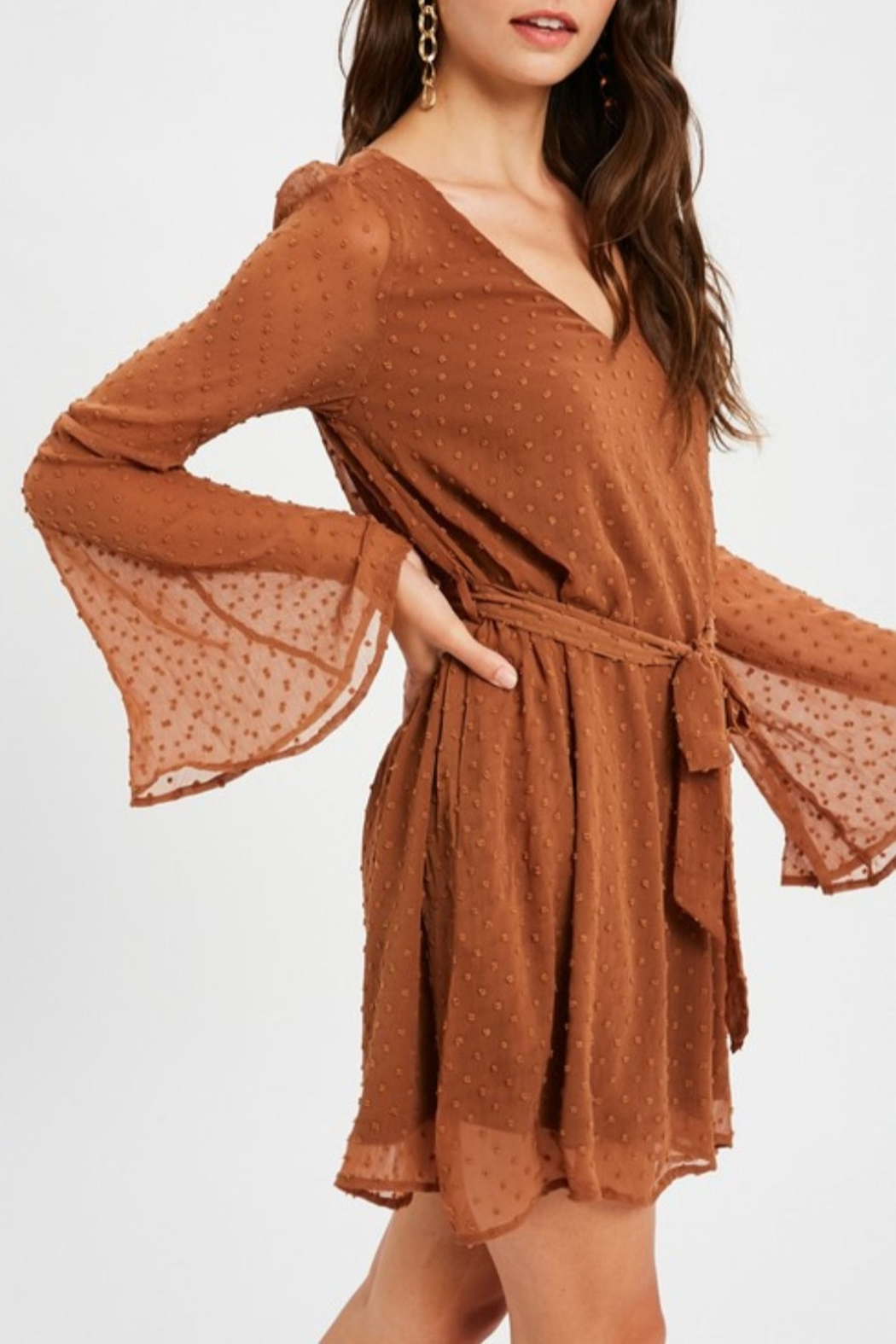 Listicle Textured Bell Sleeve Dress - Side Cropped Image