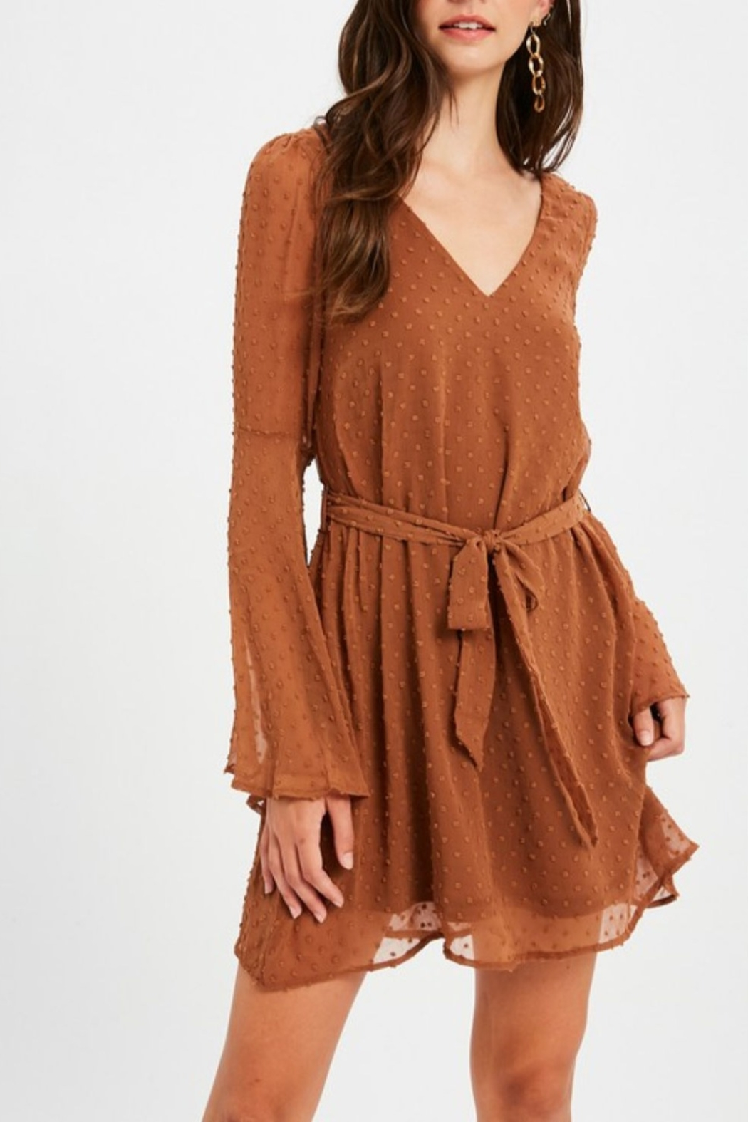 Listicle Textured Bell Sleeve Dress - Main Image