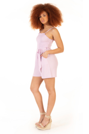 Dex Textured Belted Romper - Front full body