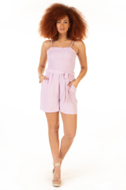 Dex Textured Belted Romper - Front cropped