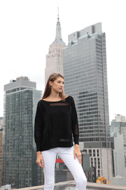 Andrea Jovine Textured Boatneck Top - Product Mini Image