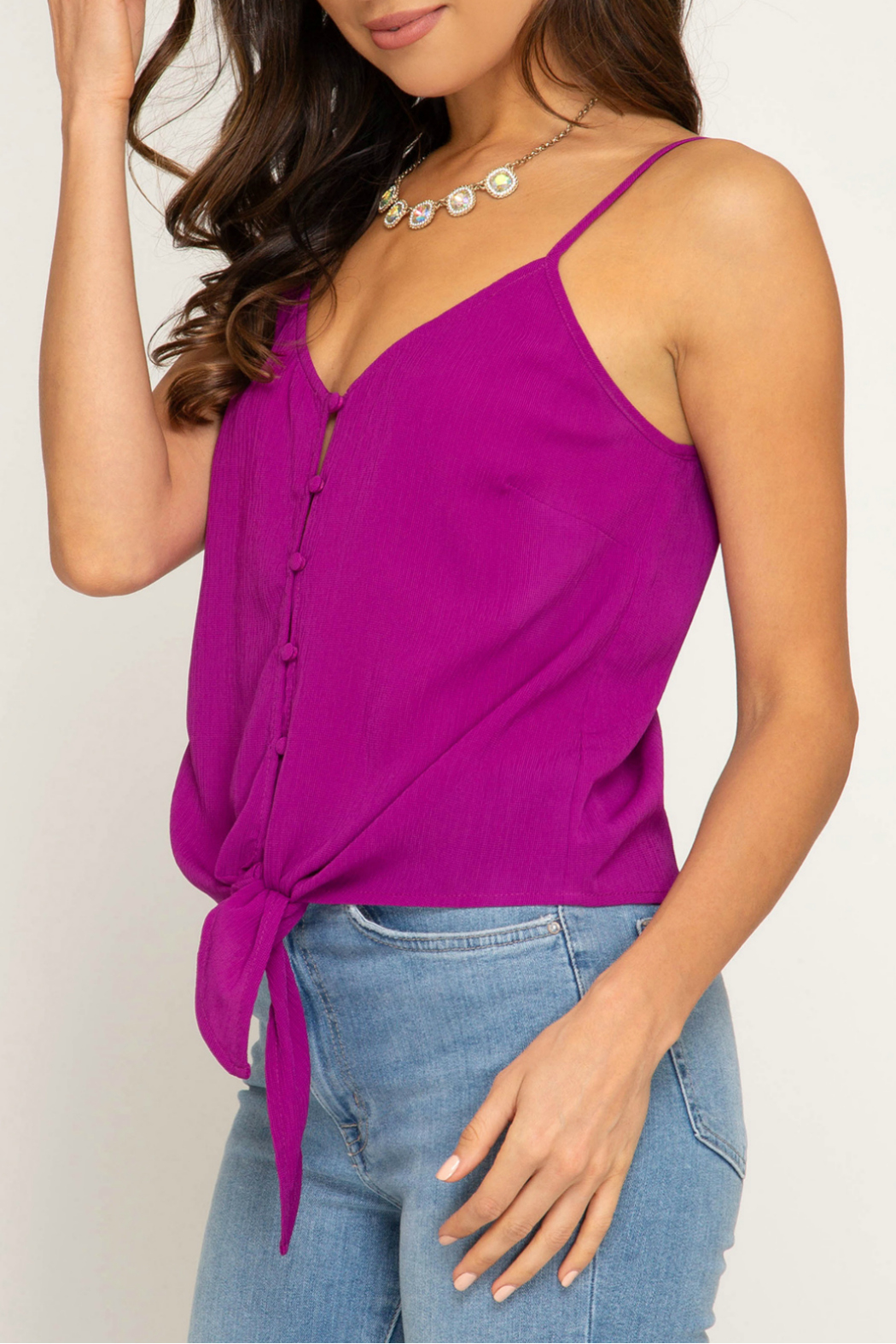 She & Sky  Textured button down cami - Front Full Image