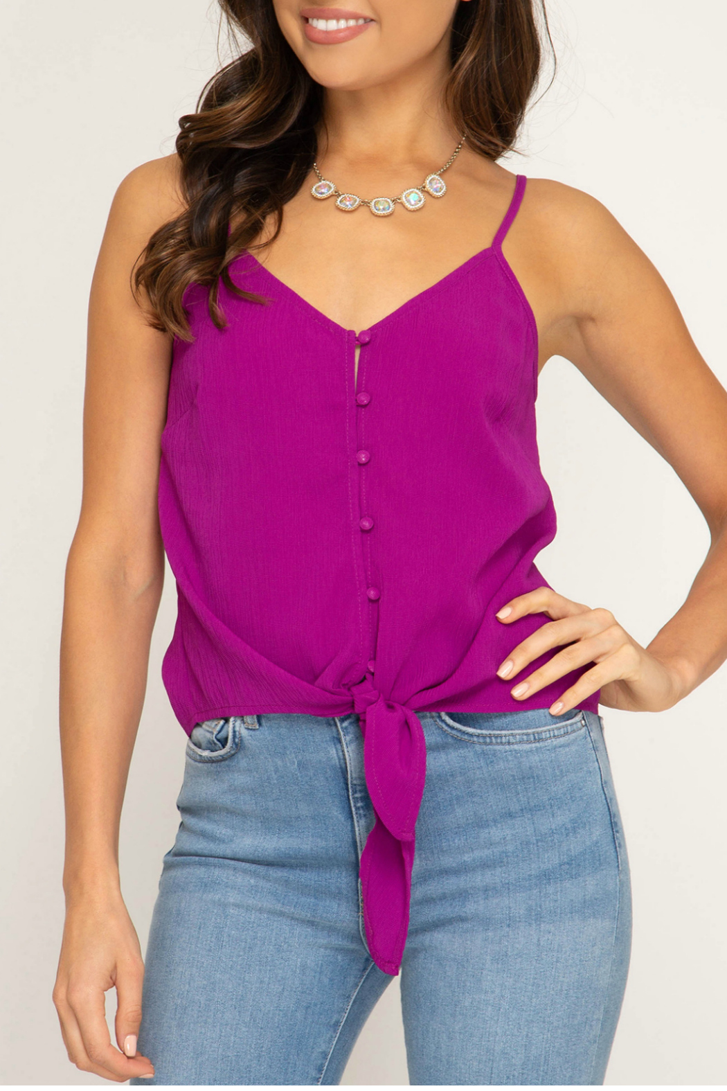 She & Sky  Textured button down cami - Main Image