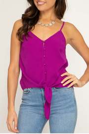 She & Sky  Textured button down cami - Front cropped