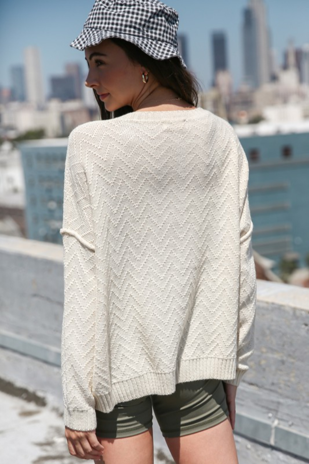 Listicle Textured Button Down Sweater - Front Full Image
