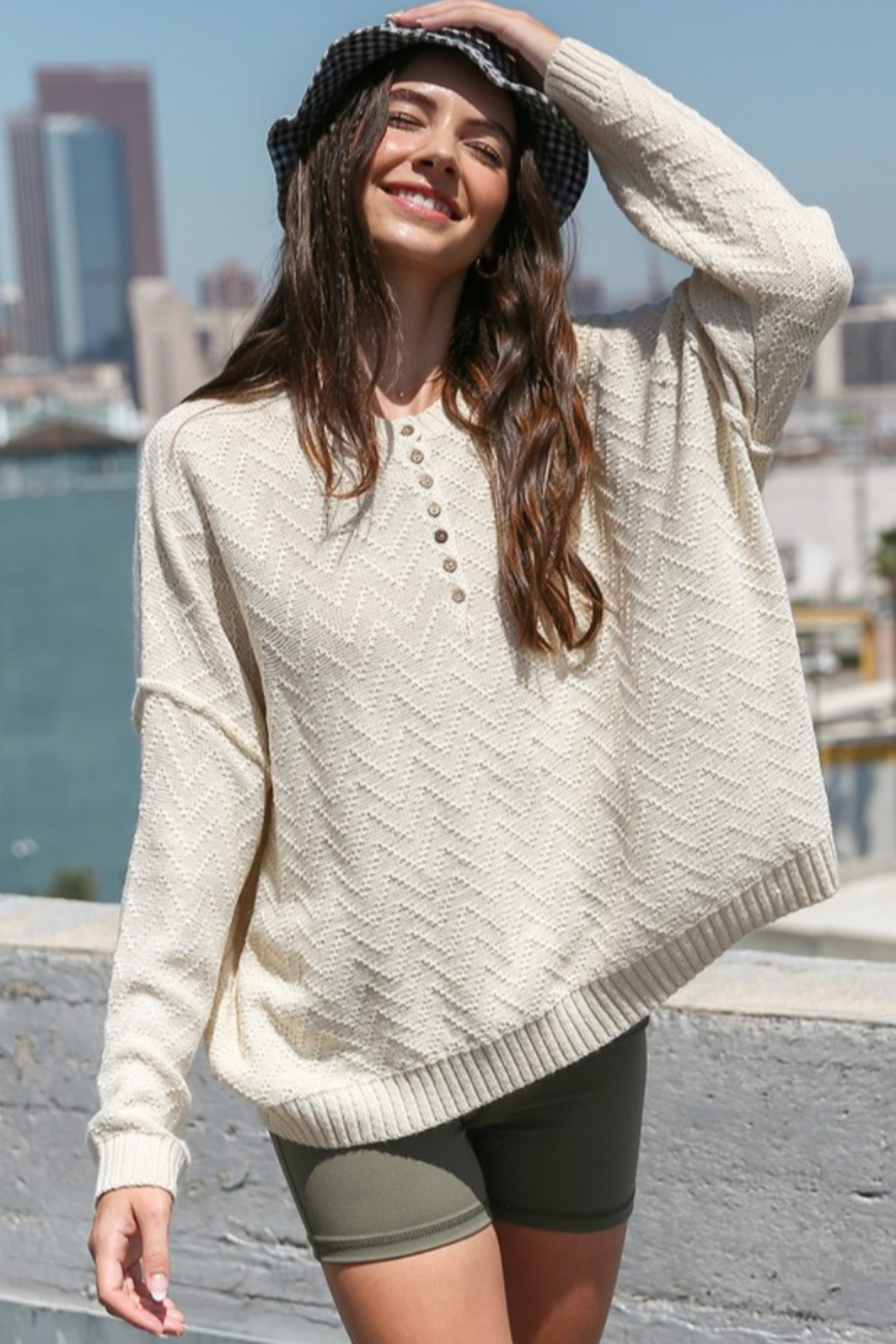 Listicle Textured Button Down Sweater - Main Image