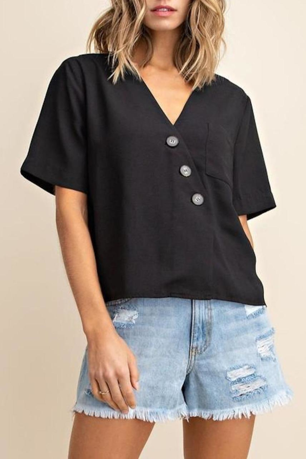 Mittoshop Textured Button-Down Top - Front Cropped Image