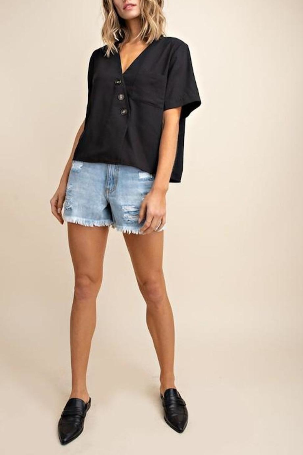 Mittoshop Textured Button-Down Top - Front Full Image