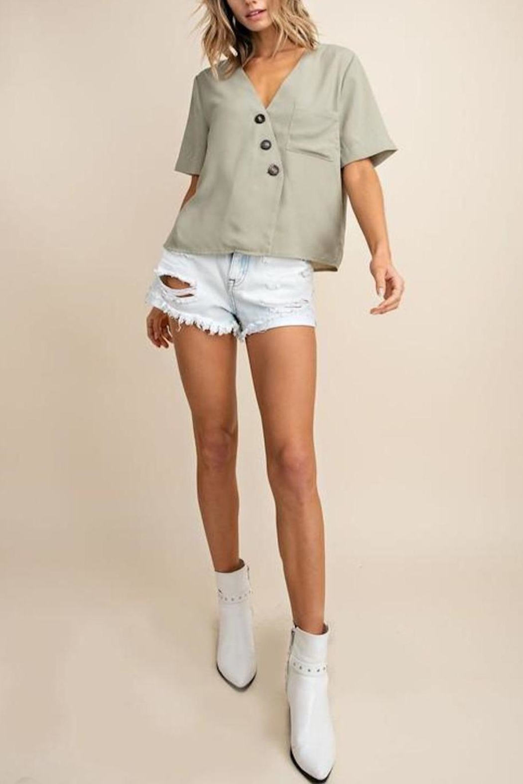 Mittoshop Textured Button-Down Top - Back Cropped Image