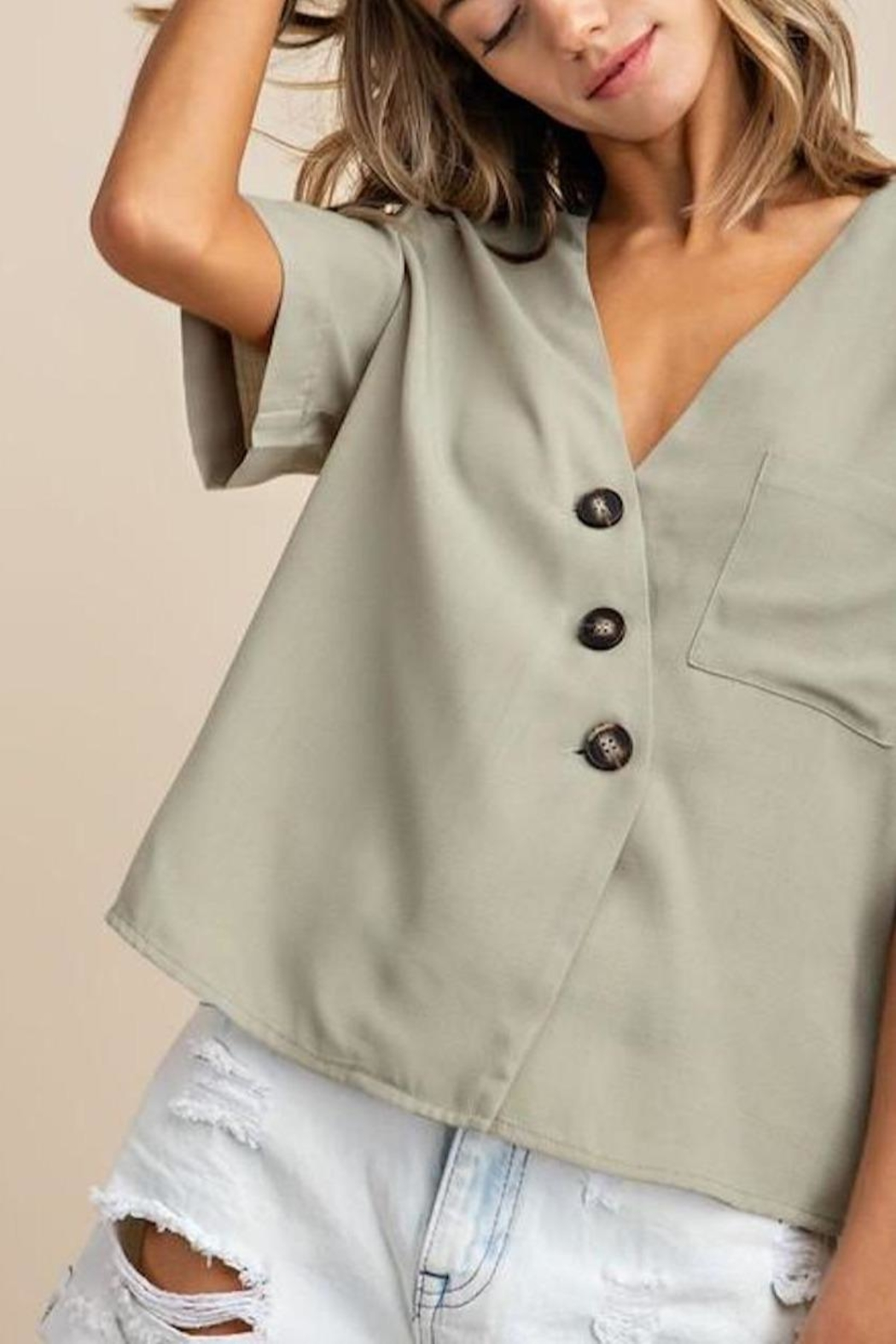 Mittoshop Textured Button-Down Top - Side Cropped Image
