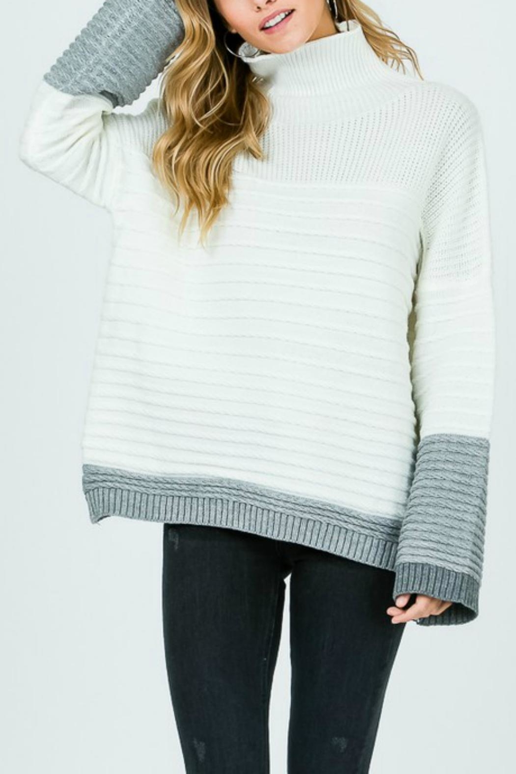 Pretty Little Things Textured Coloblock Sweater - Front Full Image