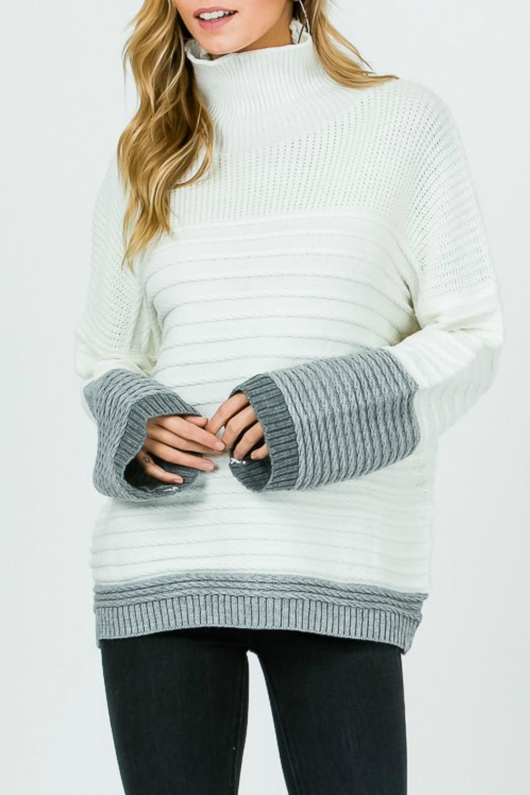 Pretty Little Things Textured Coloblock Sweater - Main Image