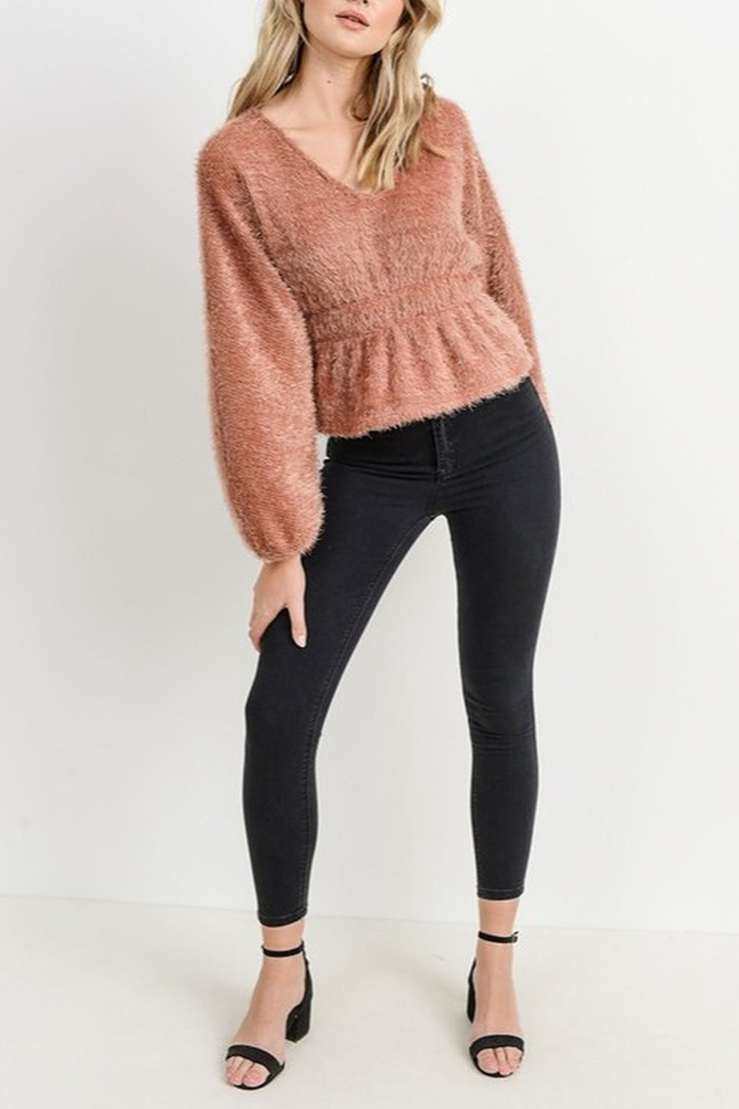 Papercrane Textured Dolman Sweater - Side Cropped Image