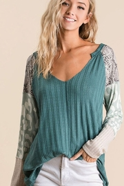 Bibi Textured Knit Top with Print Sleeves - Product Mini Image