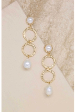 Ettika Textured Pearl Drop Earrings in Gold. 18kt Gold Plating. - Product List Image