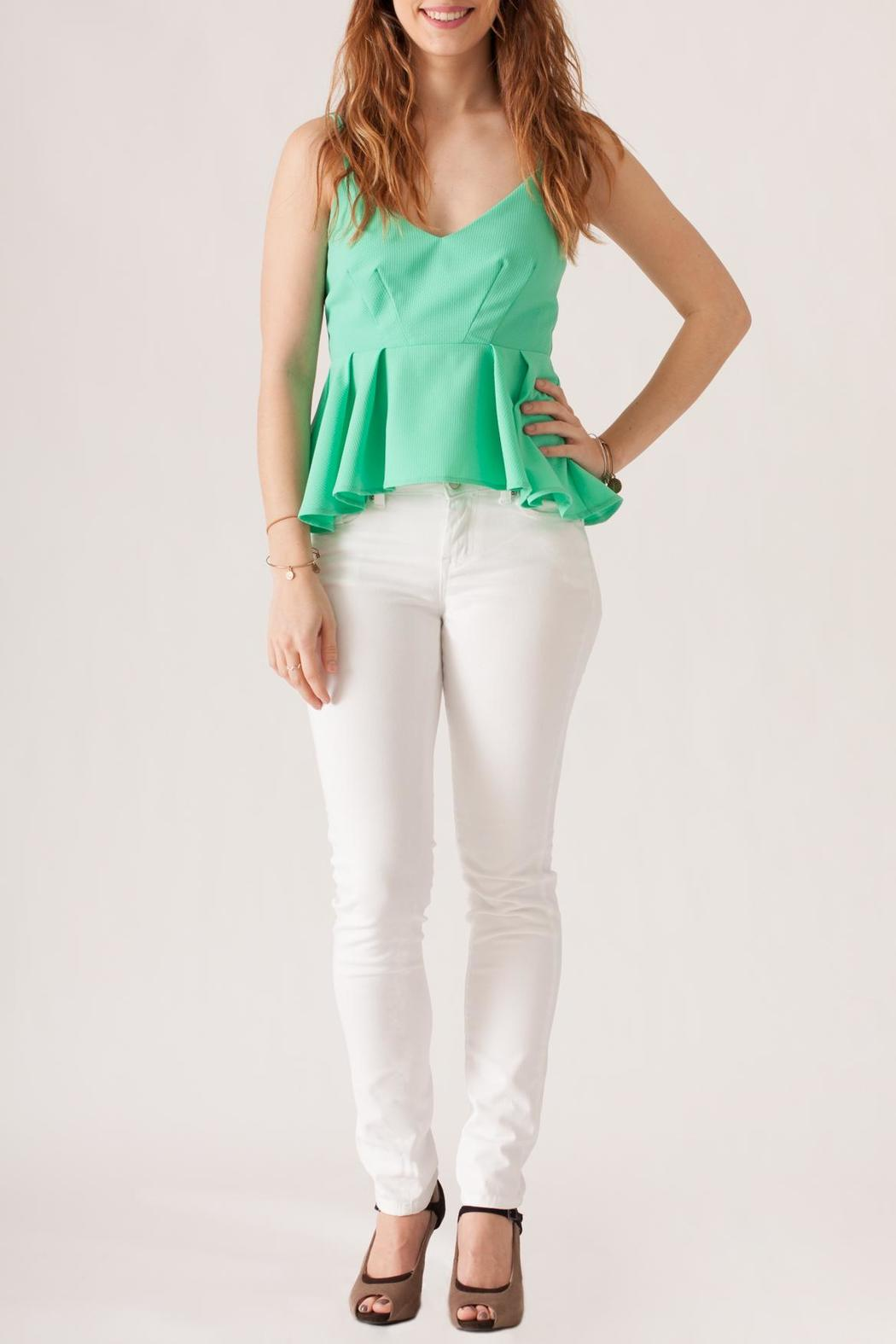 May 23 Textured Peplum Top - Front Full Image