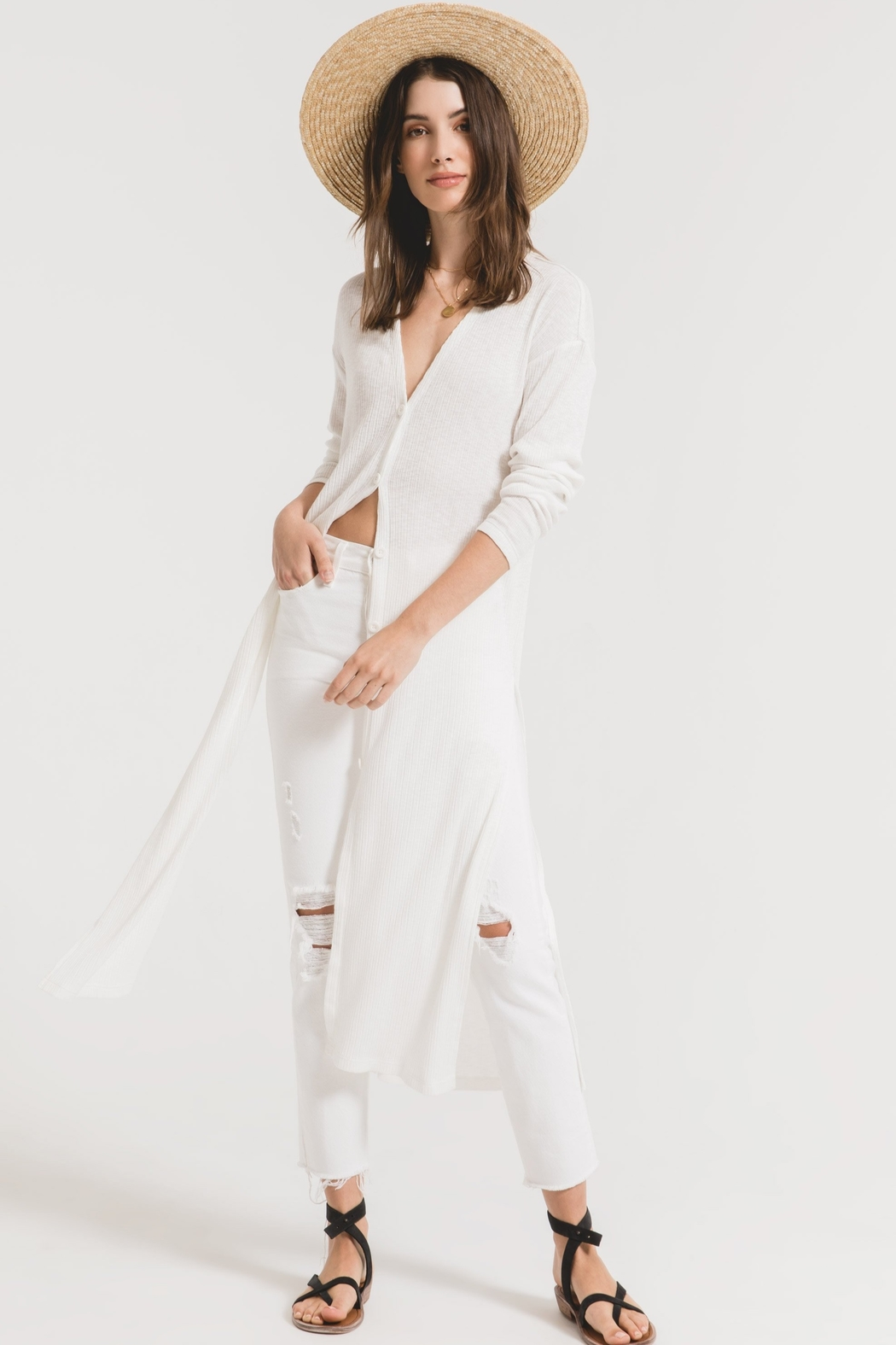 z supply Textured Rib Duster Cardigan - Front Full Image