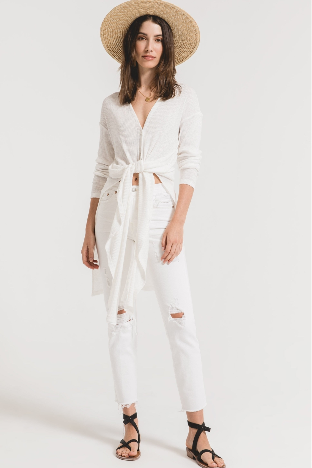 z supply Textured Rib Duster Cardigan - Side Cropped Image