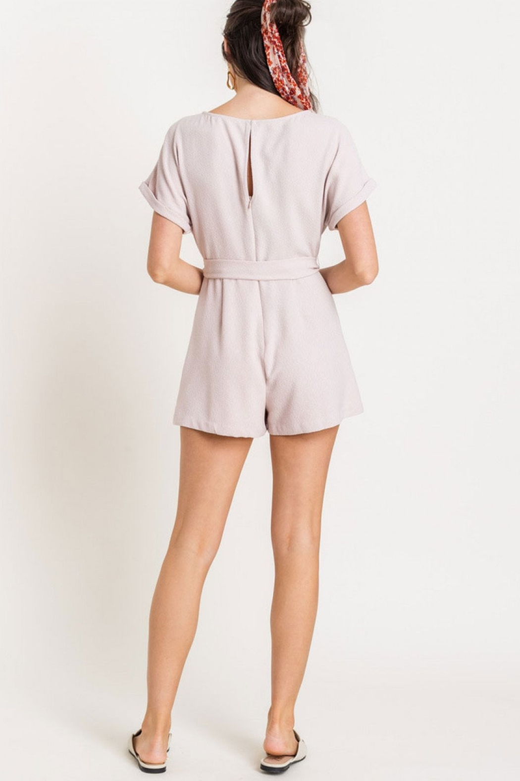 Lush Clothing  Textured romper - Front Full Image