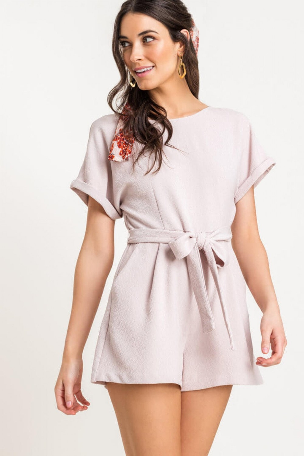 Lush Clothing  Textured romper - Side Cropped Image