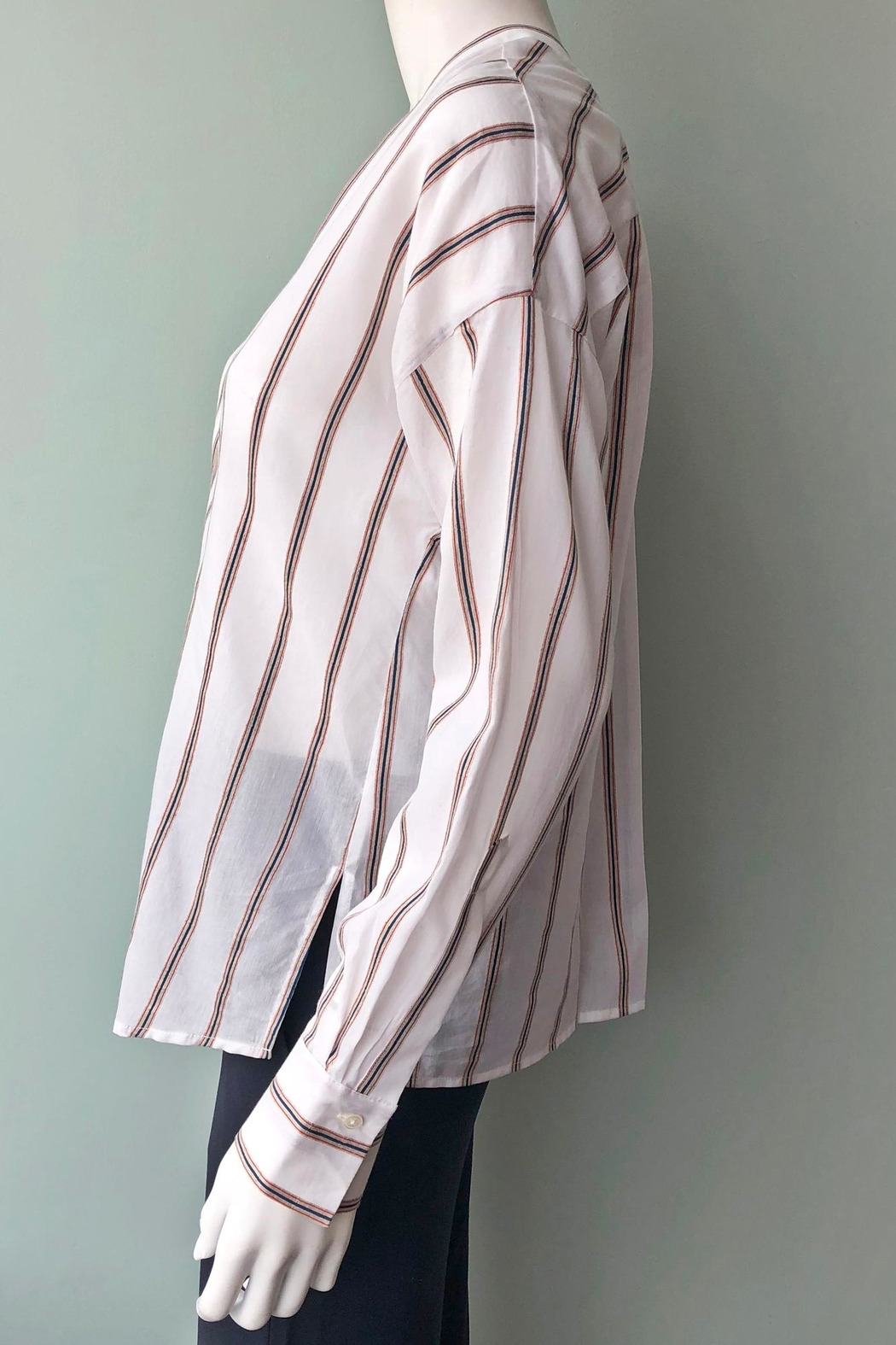 Vince Textured Stripe Pullover - Side Cropped Image