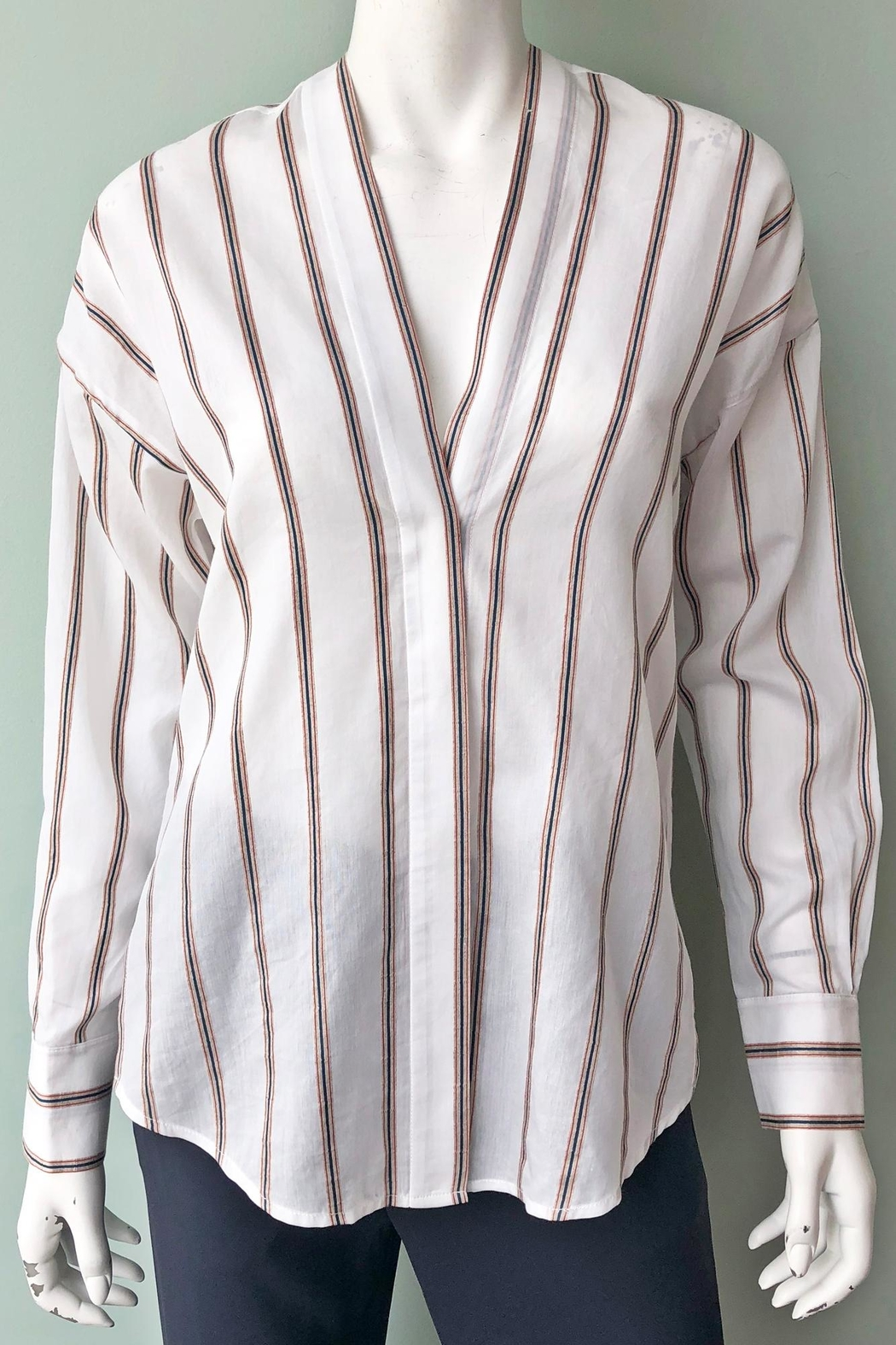Vince Textured Stripe Pullover - Front Full Image