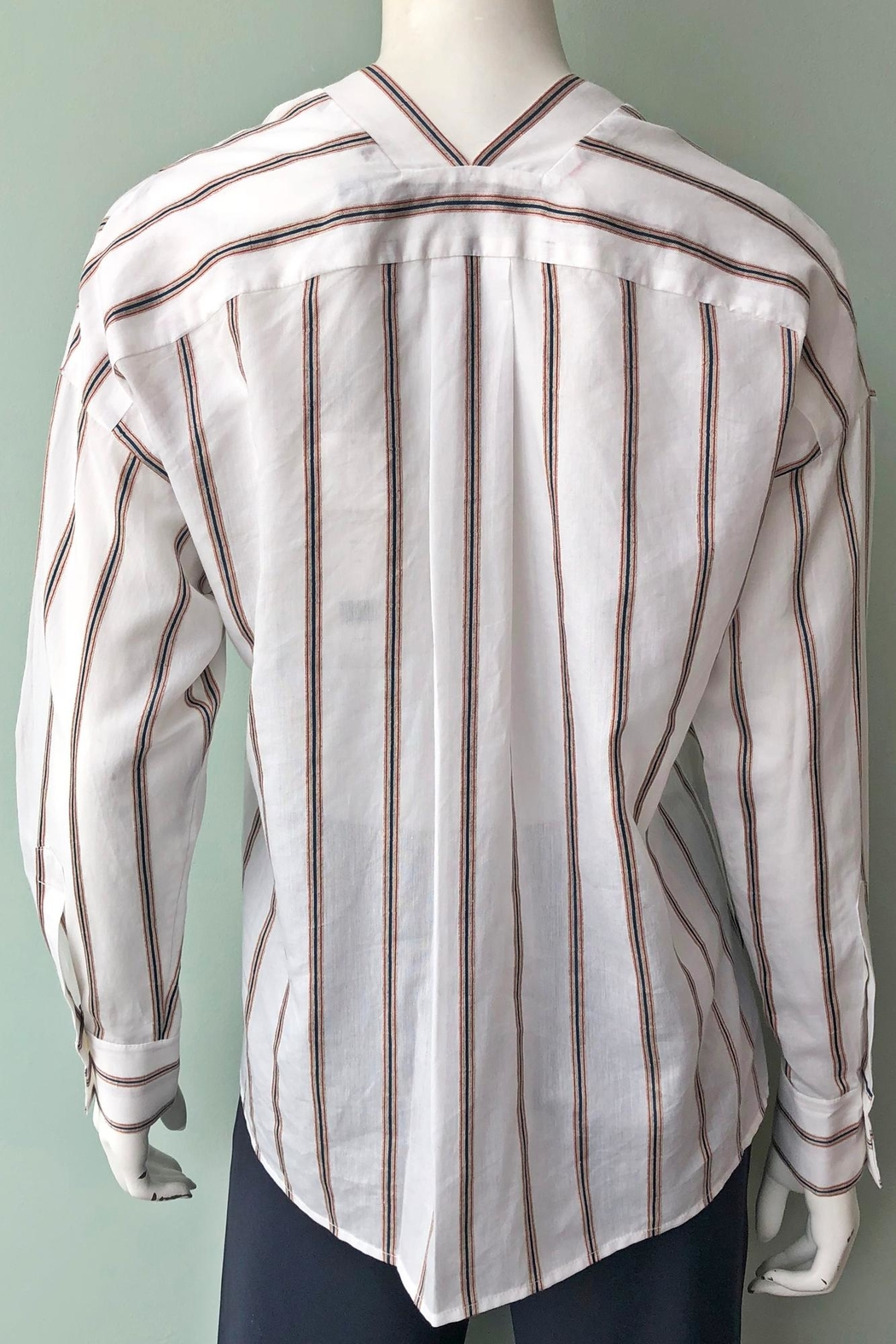 Vince Textured Stripe Pullover - Back Cropped Image