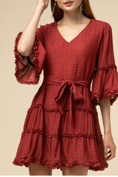 Entro  Texture Stripe Tiered Dress - Product List Image