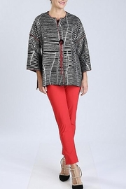 IC Collection Textured Striped Jacket W/Single Button 3/4 Sleeves - Product Mini Image