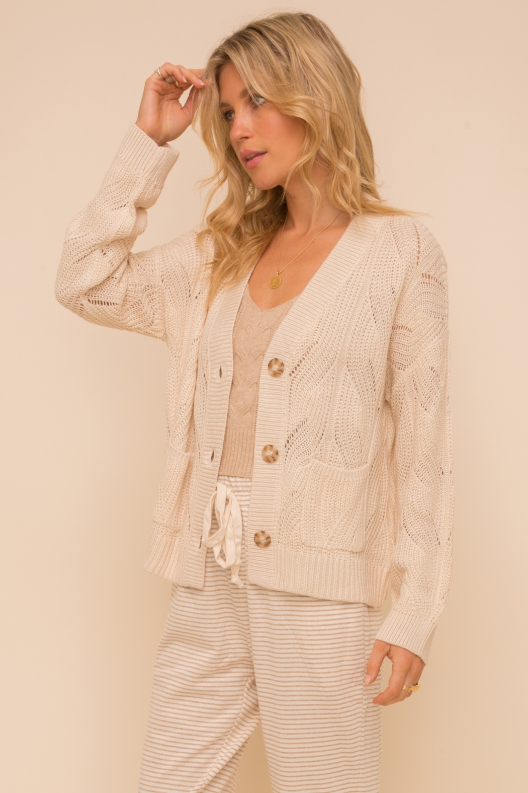Hem and Thread Textured Sweater Cardigan - Front Full Image